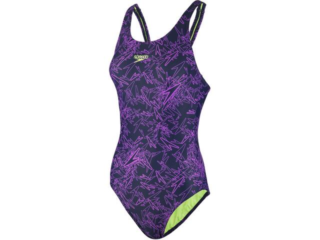 speedo Boom Allover Muscleback Swimsuit Damen navy/pink